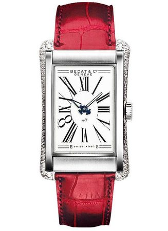 Bedat No. 7  Red Leather Strap and Diamond Case Men's Watch 788.030.101