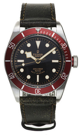 Tudor Heritage Black Bay  Red Bezel Automatic Men's Watch 79220R-CUIR