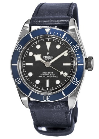 Tudor Heritage Black Bay  Automatic Blue Bezel Blue Leather Strap Men's Watch 79230B-0002