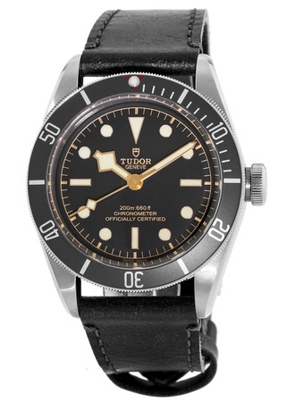 Tudor Heritage Black Bay Steel Black Dial Automatic Leather Strap Men's Watch 79230N-0001