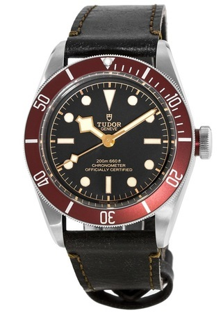 Tudor Heritage Black Bay Steel Automatic Red Bezel Black Aged Leather Strap Men's Watch 79230R-0005