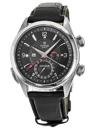 Tudor Heritage  Advisor Alarm Black Leather Men's Watch 79620TN-0002