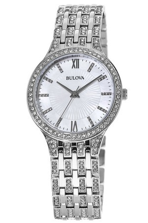 Bulova Crystal  Mother of Pearl Dial Women's Watch 96L242