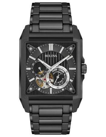Bulova Automatic  Open Heart Black Men's Watch 98A180