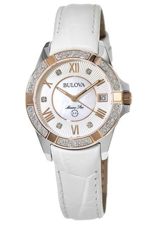 Bulova Marine Star Diamond White Leather Women's Watch 98R233