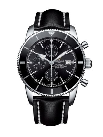Breitling Superocean Heritage II Chronographe 46 Volcano Black Dial Black Leather Men's Watch A1331212/BF78-441X
