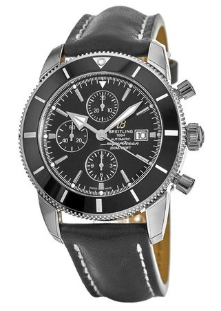 Breitling Superocean Heritage II Chronograph 46 Black Dial Black Leather Men's Watch A1331212/BF78-441X
