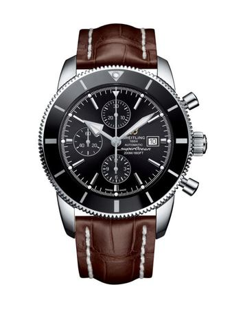 Breitling Superocean Heritage II Chronographe 46 Volcano Black Dial Bentley Brown Croco Leather Men's Watch A1331212/BF78-757P