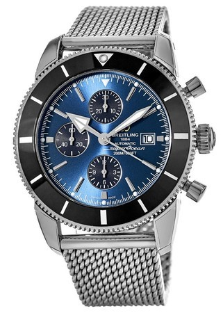 Breitling Superocean Heritage II Chronograph 46 Gun Blue Dial Ocean Classic Stainless Steel Men's Watch A1331212/C968-152A