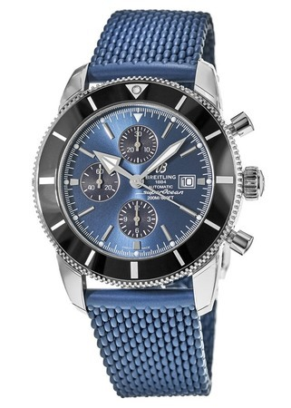Breitling Superocean Heritage II Chronographe 46 Gun Blue Dial Blue Rubber Aero Classic Men's Watch A1331212/C968-276S