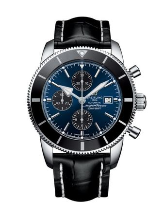 Breitling Superocean Heritage II Chronographe 46 Gun Blue Dial Black Croco Leather Men's Watch A1331212/C968-761P