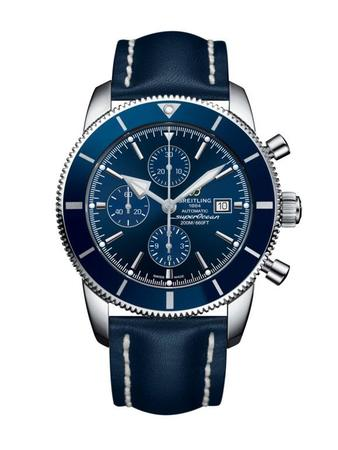 Breitling Superocean Heritage II Chronographe 46 Gun Blue Dial Blue Leather Men's Watch A1331216/C963-101X