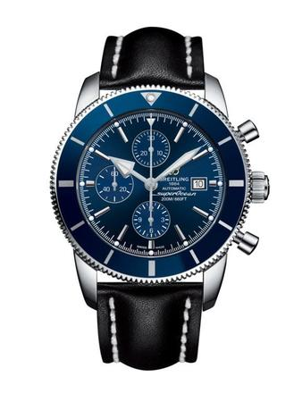 Breitling Superocean Heritage II Chronographe 46 Gun Blue Dial Black Leather Men's Watch A1331216/C963-441X