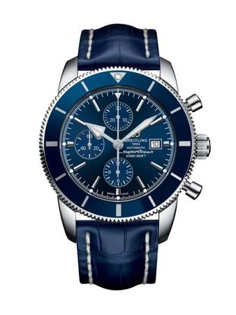 Breitling Superocean Heritage II Chronographe 46 Blue Dial Blue Leather Men's Watch A1331216/C963-746P