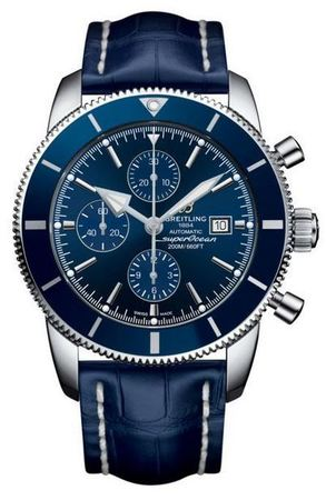 Breitling Superocean Heritage II Chronographe 46 Gun Blue Dial Blue Croco Leather Men's Watch A1331216/C963-747P