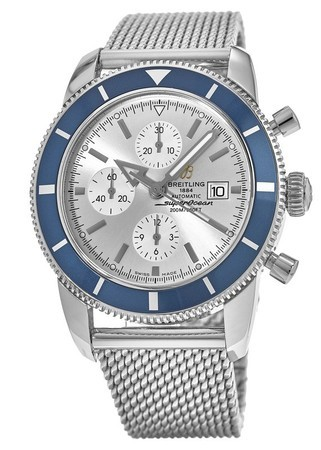 Breitling Superocean Heritage Chronograph Silver Dial Blue Bezel Steel Men's Watch A1332016/G698-152A