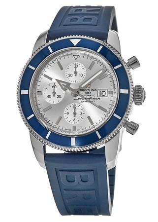 Breitling Superocean Heritage Chronograph Silver Dial Blue Rubber Ocean Strap Men's Watch A1332016/G698-160S
