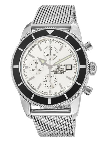Breitling Superocean Heritage Chronograph Silver Dial Mesh Bracelet Men's Watch A1332024/G698-152A