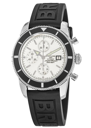 Breitling Superocean Heritage Chronograph Silver Dial Rubber Men's Watch A1332024/G698-154S