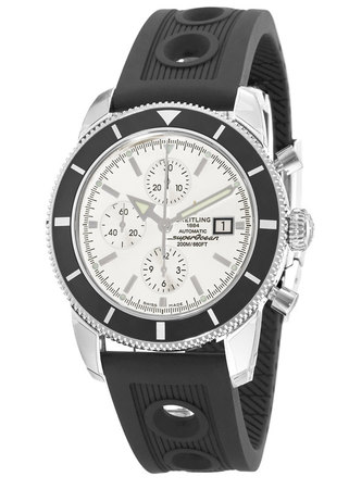 Breitling Superocean Heritage Chronograph Silver Dial Ocean Racer Rubber Men's Watch A1332024/G698-201S