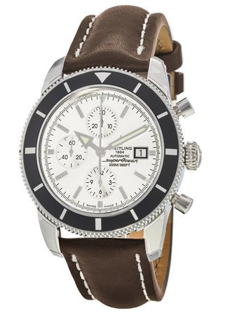 Breitling Superocean Heritage Chronograph Silver Dial Brown Leather Men's Watch A1332024/G698-443X