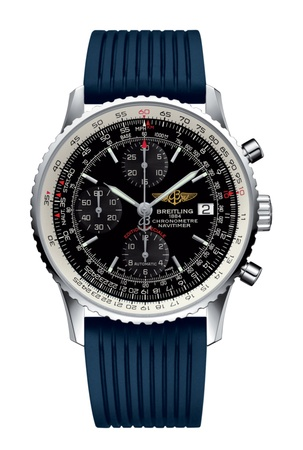 Breitling Navitimer Heritage Black Dial Blue Rubber Men's Watch A1332412/BF27-275S
