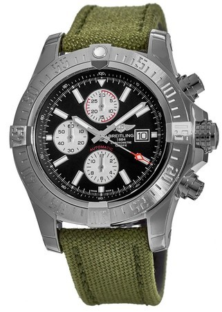 Breitling Avenger Super Avenger II Black Dial Military Green Fabric Men's Watch A1337111/BC29-105W
