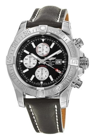 Breitling Avenger Super Avenger II Black Dial Black Leather Men's Watch A1337111/BC29-442X