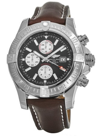 Breitling Avenger Super Avenger II Black Dial Brown Leather Men's Watch A1337111/BC29-443X