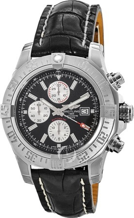 Breitling Avenger Super Avenger II Black Chronograph Crocodile Strap Men's Watch A1337111/BC29-761P
