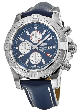 Breitling Avenger Super Avenger II Blue Chronograph Dial Leather Strap Men's Watch A1337111/C871-101X