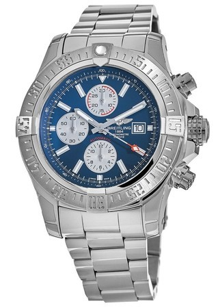 Breitling Avenger Super Avenger II Blue Stick Dial Automatic Chronograph Stainless Steel Men's Watch A1337111/C871-168A