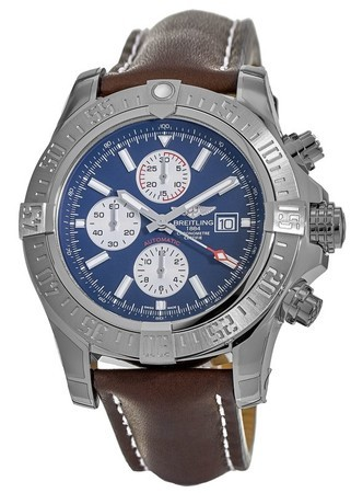 Breitling Avenger Super Avenger II Blue Chronograph Dial Brown Leather Strap Men's Watch A1337111/C871-443X