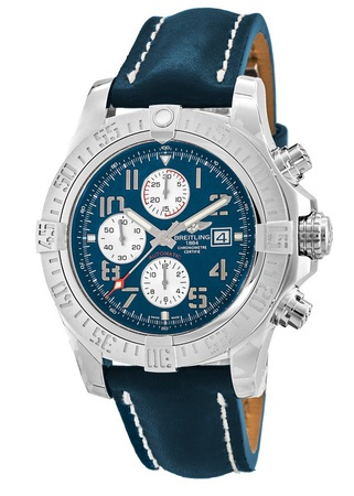 Breitling Avenger Avenger II Chronograph Blue Dial Leather Strap Men's Watch A1338111/C870-105X