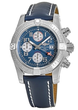 Breitling Avenger Avenger II Chronograph Blue Dial Blue Leather Men's Watch A1338111/C870-112X
