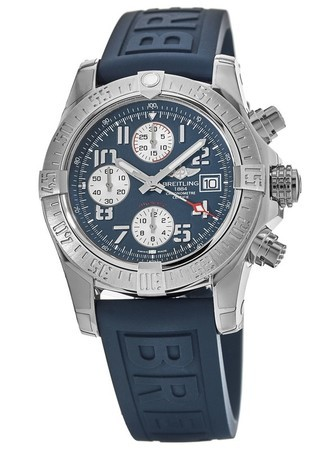 Breitling Avenger Avenger II Chronograph Blue Rubber Strap Men's Watch A1338111/C870-158S