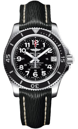 Breitling Superocean II 36 Volcano Black Dial Black Sahara Leather Unisex Watch A17312C9/BD91-213X