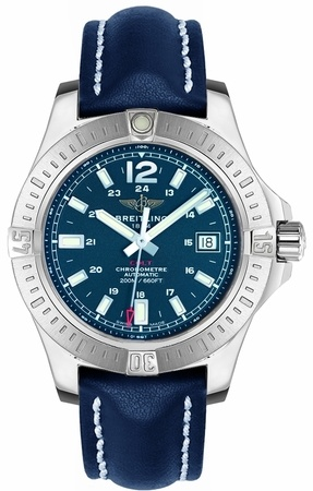 Breitling Colt 41 Automatic Blue Dial Blue Leather Men's Watch A1731311/C934-113X