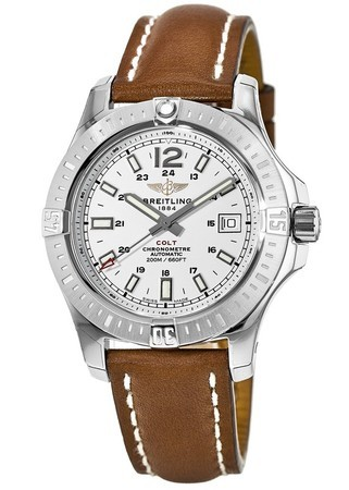 Breitling Colt 41 Automatic Silver Dial Brown Leather Men's Watch A1731311/G820-425X