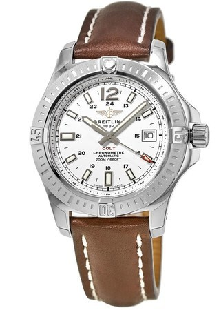 Breitling Colt 41 Automatic Stratus Silver Dial Brown Leather Strap Men's Watch A1731311/G820/431X