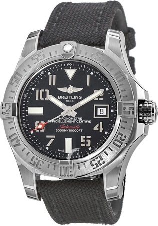 Breitling Avenger Avenger II Seawolf Black Canvas Strap Men's Watch A1733110/BC31-103W