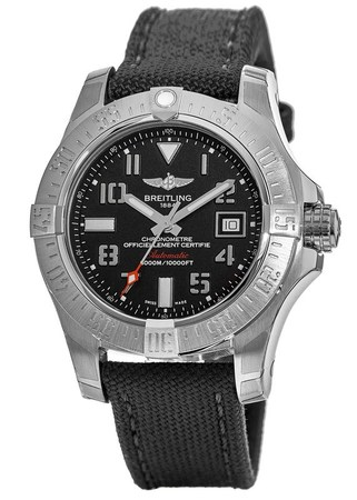 Breitling Avenger Avenger II Seawolf Black Dial Anthracite Canvas Strap Men's Watch A1733110/BC31-109W