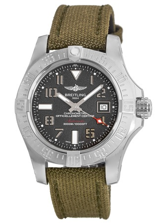 Breitling Avenger Avenger II Seawolf Tungsten Grey Dial Fabric Military Strap Men's Watch A1733110/F563-106W