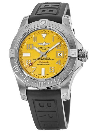 Breitling Avenger Avenger II Seawolf Cobra Yellow Dial Black Rubber Strap Men's Watch A1733110/I519-152S
