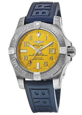 Breitling Avenger Avenger II Seawolf Yellow Dial Blue Rubber Men's Watch A1733110/I519-157S