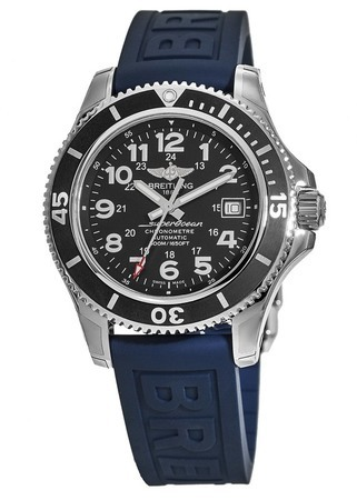 Breitling Superocean II 42 Black Dial Rubber Strap Men's Watch A17365C9/BD67-149S