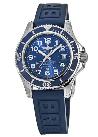 Breitling Superocean II 42 Blue Dial Blue Rubber Deployment Strap Men's Watch A17365D1/C915-149S