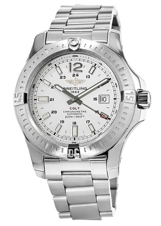 Breitling Colt 44 Automatic Silver Dial Steel Band Men's Watch A1738811/G791-173A