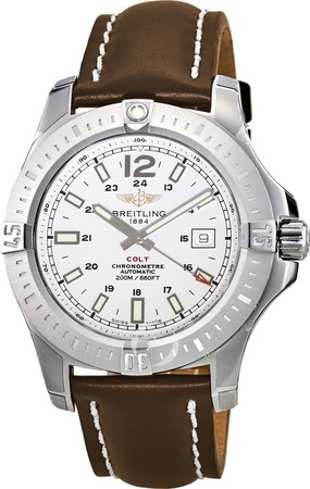 Breitling Colt 44 Automatic Silver Dial Brown Leather Deployment Buckle Strap Men's Watch A1738811/G791-438X