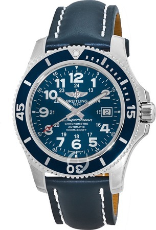 Breitling Superocean II 44 Automatic Blue Dial Leather Strap Men's Watch A17392D8/C910-105X
